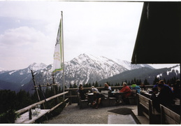 beer garden overlooking the mountians outside Bad Wiessen