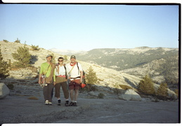 Victor, Rebecca, Christian at the summit of a climb