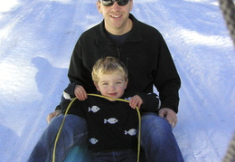 Jim & Caleb sledding