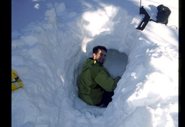 Jim digging a snow cave