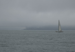 sailboat, fog & Golden Gate Bridge
