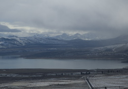 395, mono lake, mountains & clouds