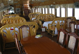 interior of our boat on Ha Long Bay