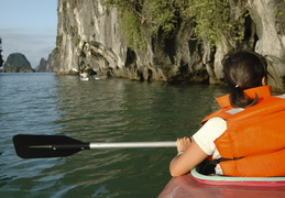 sea kayaking in Ha Long Bay