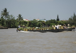 heading to the markets on the Meekong