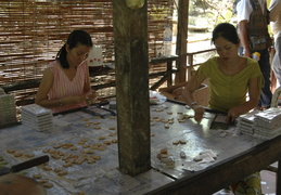 making candies in a village along the Meekong