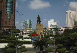 Tran Hung Dao statue looks over Me Linh Square