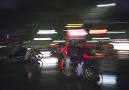 night time rainy motorbikes