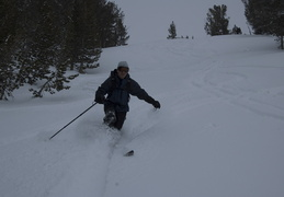 Jim taking a few telemark turns