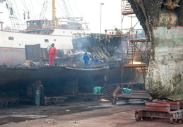 deconstruction of a ship in drydock