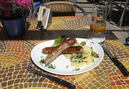 sausages, potato salad & beer