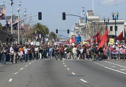 marching down the Embarcadero
