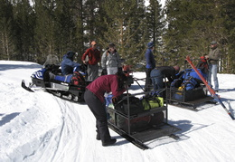 loading up the snowmobiles