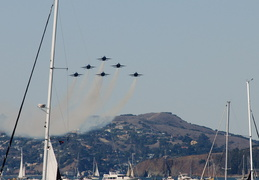 The Blue Angels with Marin County in the background