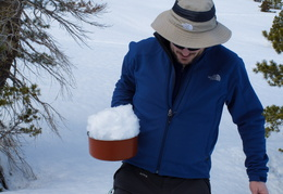 collecting snow to make water
