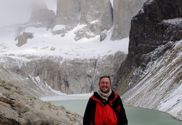 standing in front of the Torres del Paine