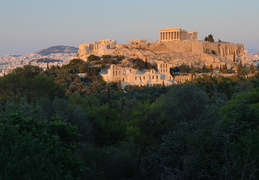 Acropolis and the trees of Filopappou Hill