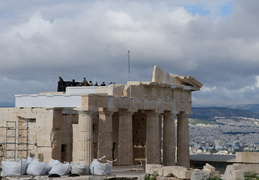 Protestors atop the Propylaia, Athens