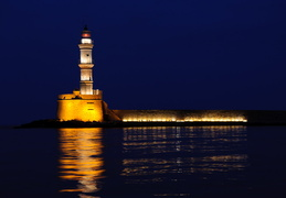 Hania lighthouse at night