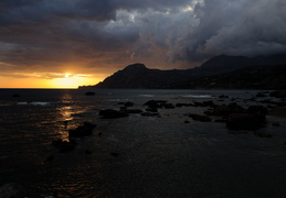 sunset and storm on Plakias bay