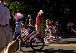 Bikes decorated for the 4th of July parade